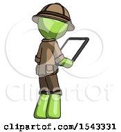 Green Explorer Ranger Man Looking At Tablet Device Computer Facing Away