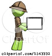Green Explorer Ranger Man Show Tablet Device Computer To Viewer Blank Area