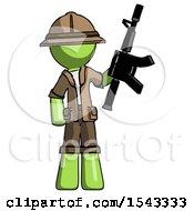 Green Explorer Ranger Man Holding Automatic Gun