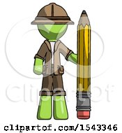 Green Explorer Ranger Man With Large Pencil Standing Ready To Write