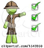 Green Explorer Ranger Man Standing By List Of Checkmarks