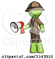 Green Explorer Ranger Man Holding Megaphone Bullhorn Facing Right