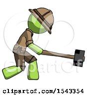 Green Explorer Ranger Man Hitting With Sledgehammer Or Smashing Something