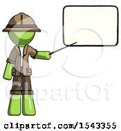 Green Explorer Ranger Man Giving Presentation In Front Of Dry Erase Board