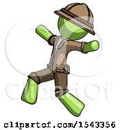 Green Explorer Ranger Man Running Away In Hysterical Panic Direction Left