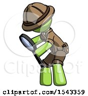 Green Explorer Ranger Man Inspecting With Large Magnifying Glass Left