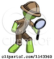 Green Explorer Ranger Man Inspecting With Large Magnifying Glass Right