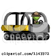 Green Explorer Ranger Man Driving Amphibious Tracked Vehicle Side Angle View