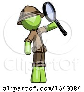 Green Explorer Ranger Man Inspecting With Large Magnifying Glass Facing Up