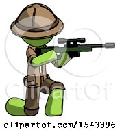 Green Explorer Ranger Man Kneeling Shooting Sniper Rifle