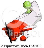 Green Design Mascot Woman In Geebee Stunt Plane Descending View