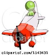 Green Design Mascot Man In Geebee Stunt Plane Descending Front Angle View