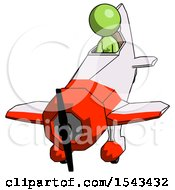 Green Design Mascot Woman In Geebee Stunt Plane Descending Front Angle View
