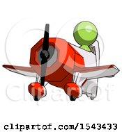 Green Design Mascot Man Flying In Geebee Stunt Plane Viewed From Below