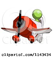 Green Design Mascot Woman Flying In Geebee Stunt Plane Viewed From Below