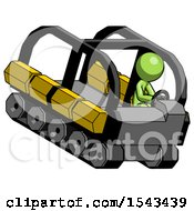 Green Design Mascot Man Driving Amphibious Tracked Vehicle Top Angle View