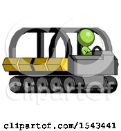 Green Design Mascot Man Driving Amphibious Tracked Vehicle Side Angle View