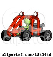 Green Design Mascot Woman Riding Sports Buggy Side Angle View