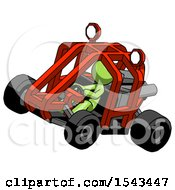 Green Design Mascot Man Riding Sports Buggy Side Top Angle View