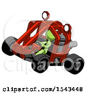 Green Design Mascot Woman Riding Sports Buggy Side Top Angle View