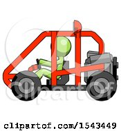 Green Design Mascot Man Riding Sports Buggy Side View
