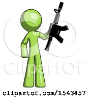 Green Design Mascot Man Holding Automatic Gun