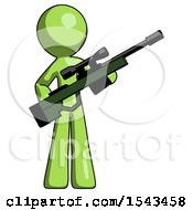 Green Design Mascot Man Holding Sniper Rifle Gun