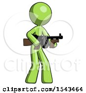 Green Design Mascot Woman Tommy Gun Gangster Shooting Pose