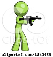Green Design Mascot Man Shooting Automatic Assault Weapon