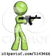 Green Design Mascot Woman Shooting Automatic Assault Weapon