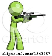 Green Design Mascot Man Shooting Sniper Rifle