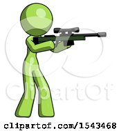 Green Design Mascot Woman Shooting Sniper Rifle