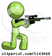 Green Design Mascot Man Kneeling Shooting Sniper Rifle
