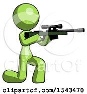 Green Design Mascot Woman Kneeling Shooting Sniper Rifle