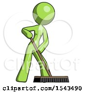 Green Design Mascot Woman Cleaning Services Janitor Sweeping Floor With Push Broom