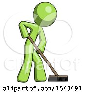 Green Design Mascot Man Cleaning Services Janitor Sweeping Side View