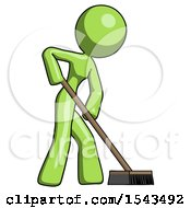 Green Design Mascot Woman Cleaning Services Janitor Sweeping Side View