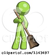 Green Design Mascot Man Sweeping Area With Broom