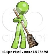 Green Design Mascot Woman Sweeping Area With Broom