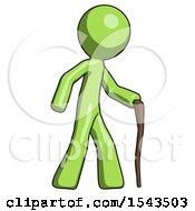 Green Design Mascot Man Walking With Hiking Stick