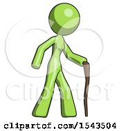 Green Design Mascot Woman Walking With Hiking Stick