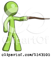 Green Design Mascot Man Pointing With Hiking Stick