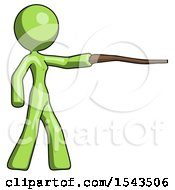 Green Design Mascot Woman Pointing With Hiking Stick