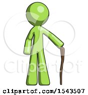 Green Design Mascot Man Standing With Hiking Stick