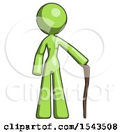 Green Design Mascot Woman Standing With Hiking Stick