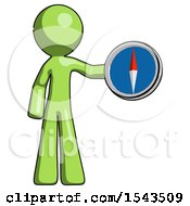 Green Design Mascot Man Holding A Large Compass