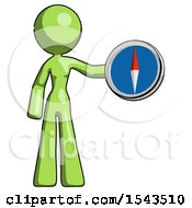Green Design Mascot Woman Holding A Large Compass