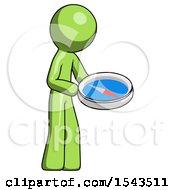 Green Design Mascot Man Looking At Large Compass Facing Right