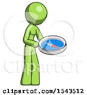 Green Design Mascot Woman Looking At Large Compass Facing Right