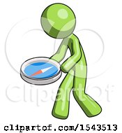 Green Design Mascot Man Walking With Large Compass